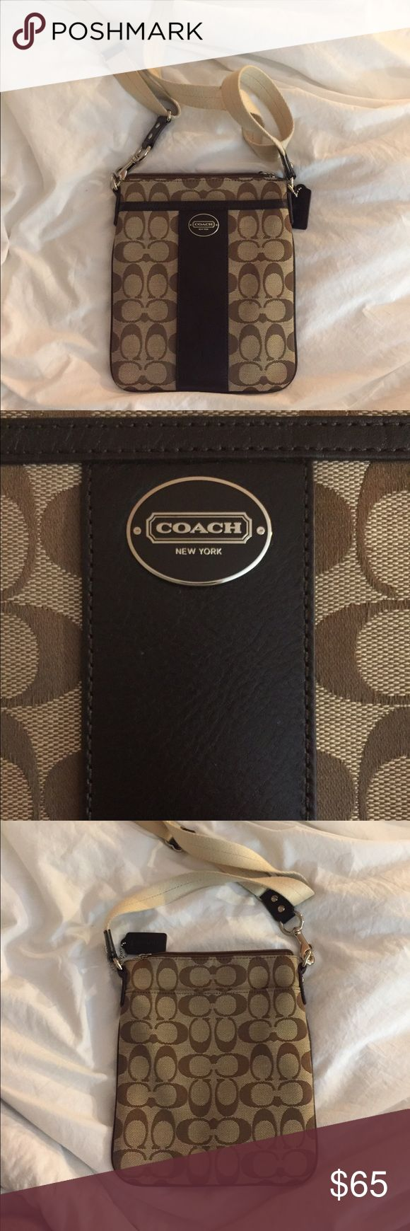 Coach Swingpack in signature fabric A timeless classic bag in near perfect condition with only one tiny dot stain near middle (see picture). This bag was only worn once or twice. Neutral fabric goes with any outfit! Coach Bags Crossbody Bags