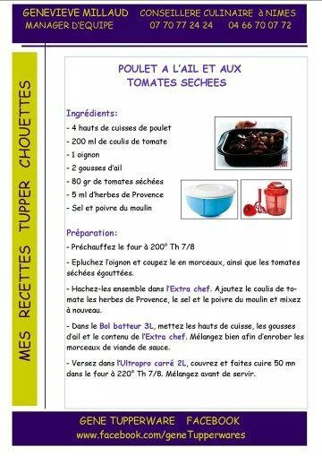 Tupperware - Poulet à l'ail et aux tomates séchées