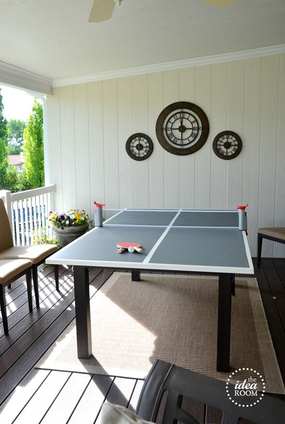 DIY Ping Pong Table (the other side is a chalkboard)