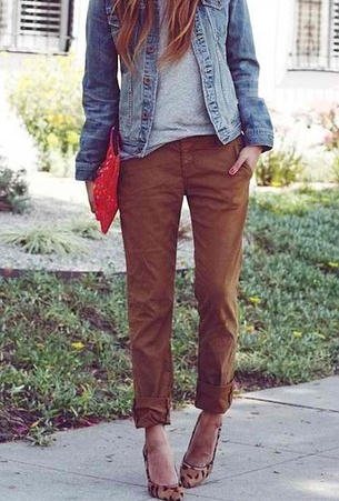 50 Spring Outfits to Copy Right Now | StyleCaster.. Chinos a little baggy, cuffed with t shirt, denim jacket and printed pumps