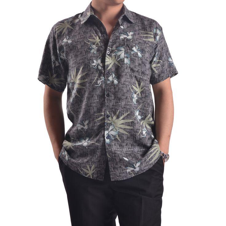 Мода мужской лето шелковые - рукав рубашки печатных Высокое качество шелковицы шелковая рубашка новинка человек с отложным воротником серый рубашка