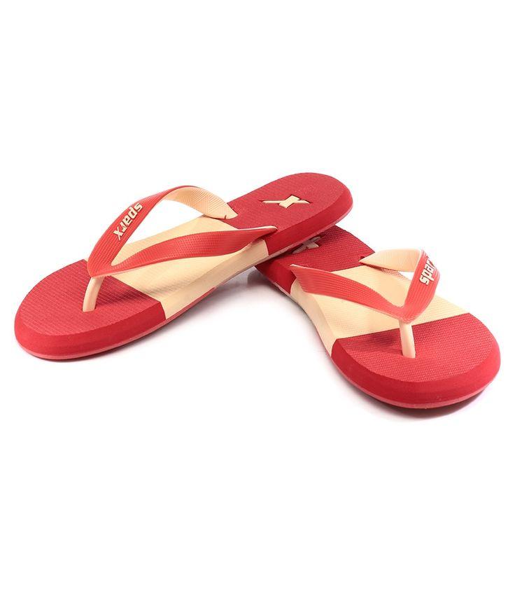 Sparx Sf2020L Red Beige Flip Flops