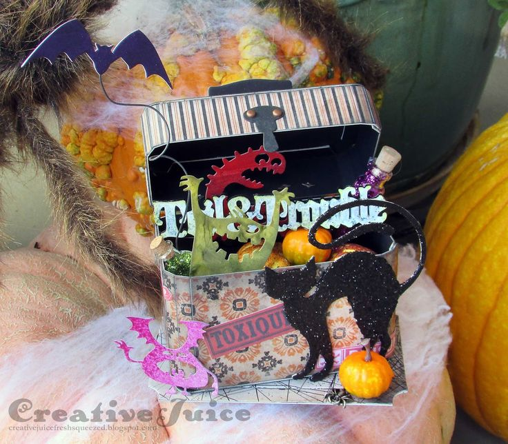 Lisa Hoel for Eileen Hull, Halloween decoration using the Train Case Die & lots of Tim Holtz Halloween goodies