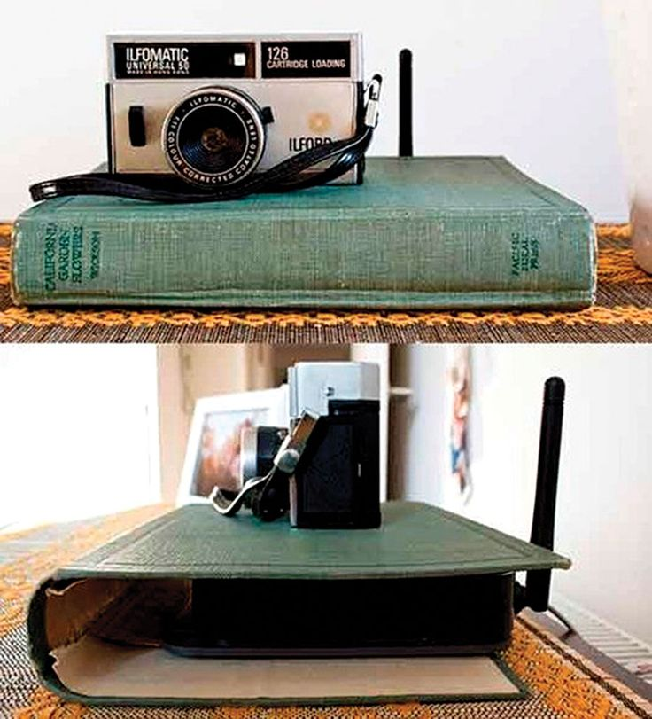 Declutter tip: Hide an internet router with a book cover - Chatelaine.com Hide ugly tech inside a pretty vintage book cover — it's a clever way to disguise your internet router! Scout out garage sales and flea markets for dusty books around the same width as a router, remove pages and voilà — a utilitarian object is transformed into a cool display!