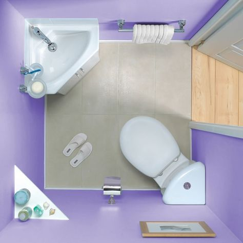 Perfect example of Corner Toilet and Corner Sink- finally found a picture (could use a corner cabinet instead of just a shelf)