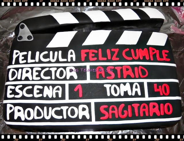 Los Telares de Sil: TARTA CLAQUETA DE CINE DE FONDANT CON CARRETE FOTO...