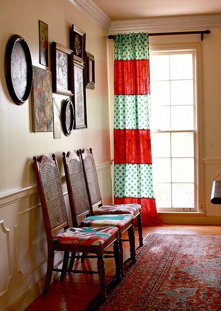 Decoração simples e barata: Patchwork Curtains, Curtainshom Decor, Yellow Curtains, Cute Curtains, Easy Curtains, Curtains Ideas, Living Rooms Curtains, Stripes Curtains, Pretty Curtains