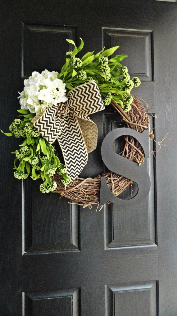 spring wreath front door wreath wreath with initial summer wreath