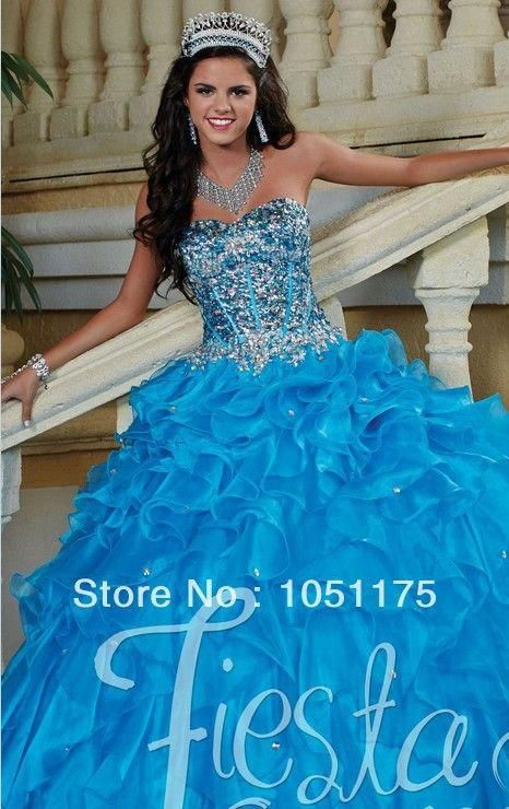 5c79519be9f Unique 2014 Turquoise Quinceanera Dresses Ruffled Organza Strapless Heavily  Beaded Midriff The Waist Floor Length Ball Gown  uniquequinceaneradresses