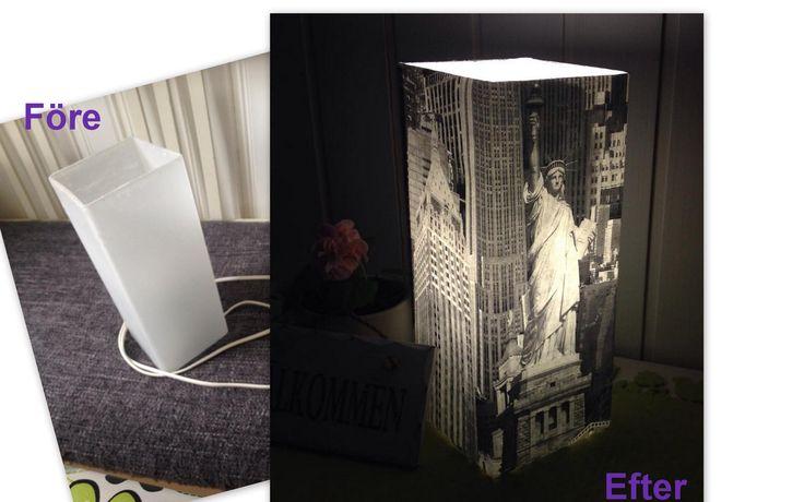 Gammal Ikea lampa förnyat med tapet. Vanha Ikea lamppu tuunattu tapetilla,  Made by Paula Laakso