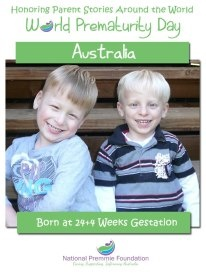 Thomas & Alex born at 24 weeks representing Australia for World Prematurity Day 2012.