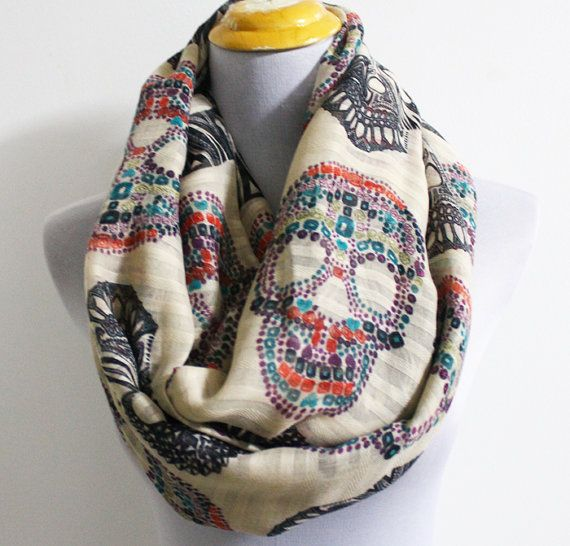 Hey, I found this really awesome Etsy listing at https://www.etsy.com/listing/165613921/skull-infinity-scarf-multicolor-skull