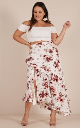 048875bc74 Around Town skirt in white floral | Plus size outfits | Skirts, High ...