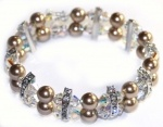 Handmade bronze swarovski crystal and pearl bracelet for brides wedding and formals.  Redki Wearable Art  www.redki.com.au