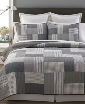 Martha Stewart Collection Salt & Pepper King Quilt, Only at Macy's - Gray