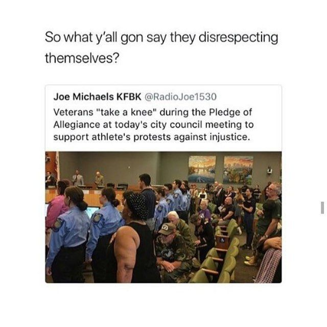 Remember this next time you use the excuse that kneeling disrespects the military...