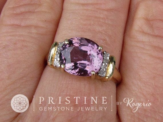 Purple Spinel Ring over 3ct in 10K Yellow Gold by PristineJewelry