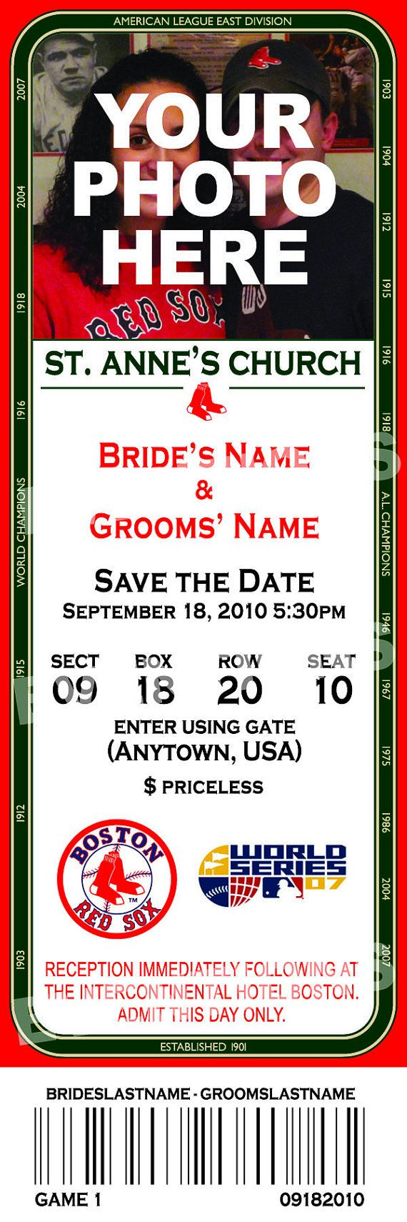 Boston Red Sox Save the Date Ticket with by eventionsdesigns, $50.00  Billy would love these as our save the dates... lol Gotta love our red sox !!