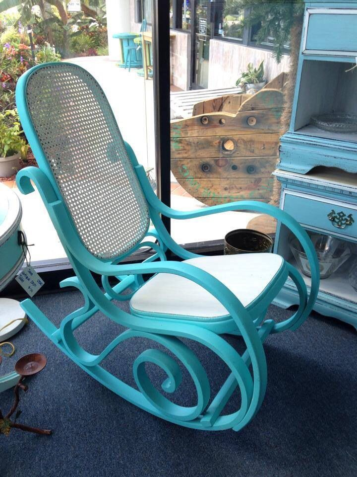Bentwood rocking chair painted two tone