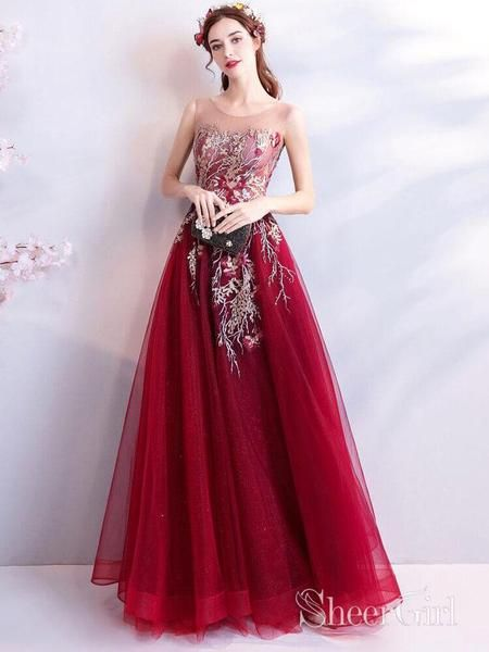 8bdbbc7d2a Cheap Burgundy Long Prom Dresses Lace Applique Military Ball Gown Formal  Dress ARD2031-SheerGirl