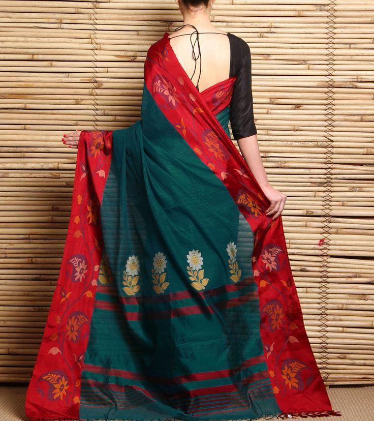 Teal & Maroon Handwoven Silk & Linen Saree