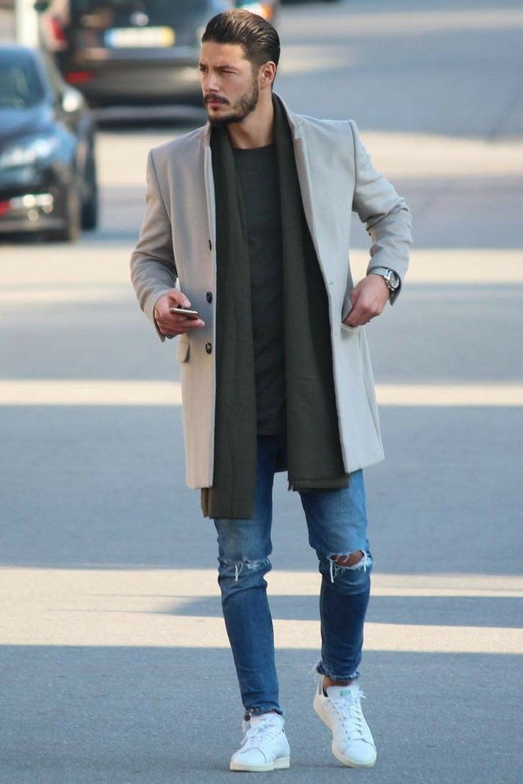 Men's fashion | style, outfit, trend coat, scarf, sweater, jeans, shoes, casual, effortless, sexy, styled