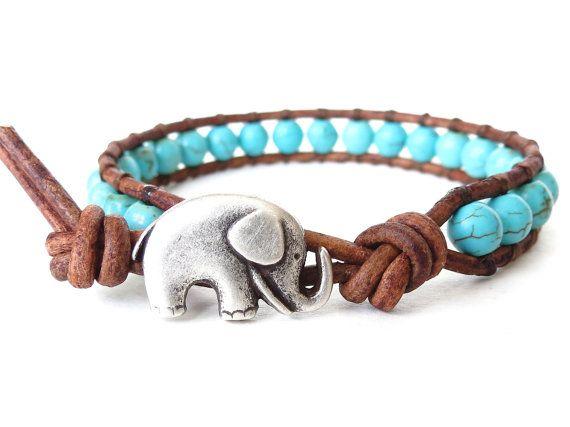 Turquoise elephant wrap bracelet summery by MirasBeadBoutique, £13.50