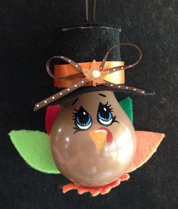 Thanksgiving Painted Light Bulb Ornament Turkey by HolidayPainter/etsy shop $6.50