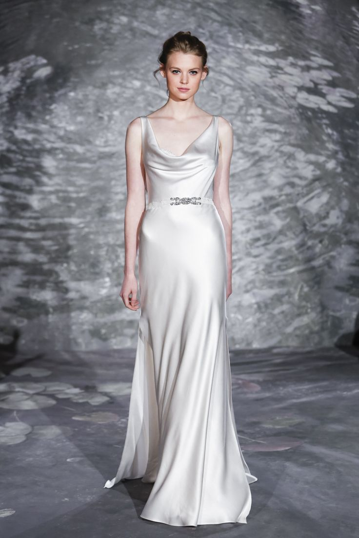 A stunning silk satin cowl neck gown by Jenny Lee {photo: Dan Lecca}