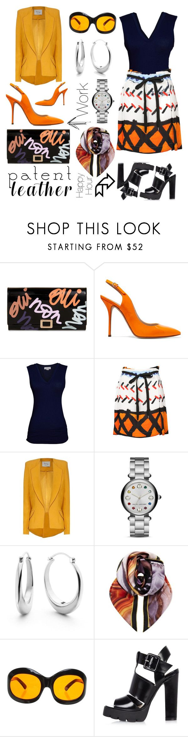 """""""City Slickers: Patent Leather"""" by michele-nyc ❤ liked on Polyvore featuring Roger Vivier, Casadei, Velvet by Graham & Spencer, Vivienne Westwood Anglomania, Hebe Studio, Marc Jacobs, Shinola, Givenchy, Cutler and Gross and River Island"""