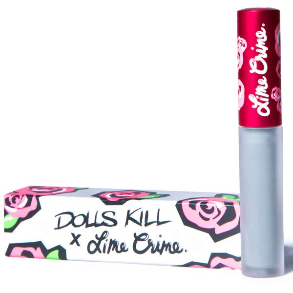 Lime Crime x Dolls Kill Cement Velvetine Liquid Lipstick ($20) ❤ liked on Polyvore featuring beauty products, makeup, lip makeup, lipstick, matte lipstick, lips makeup, lime crime, matte finish lipstick and lime crime lipstick