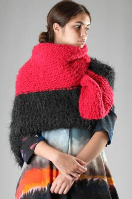 Daniela Gregis | large multicolour hand-made shawl in knitted alpaca | large multicolour hand-made shawl in knitted alpaca, could be worn as a scarf, as a shawl or as a poncho | article code: 23913 | season: Autumn/Winter | composition: