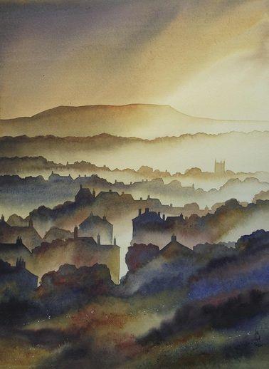 Ian Scott Massie, Masham artist. View of Askrigg in Wensleydale. #fineart #yorkshire