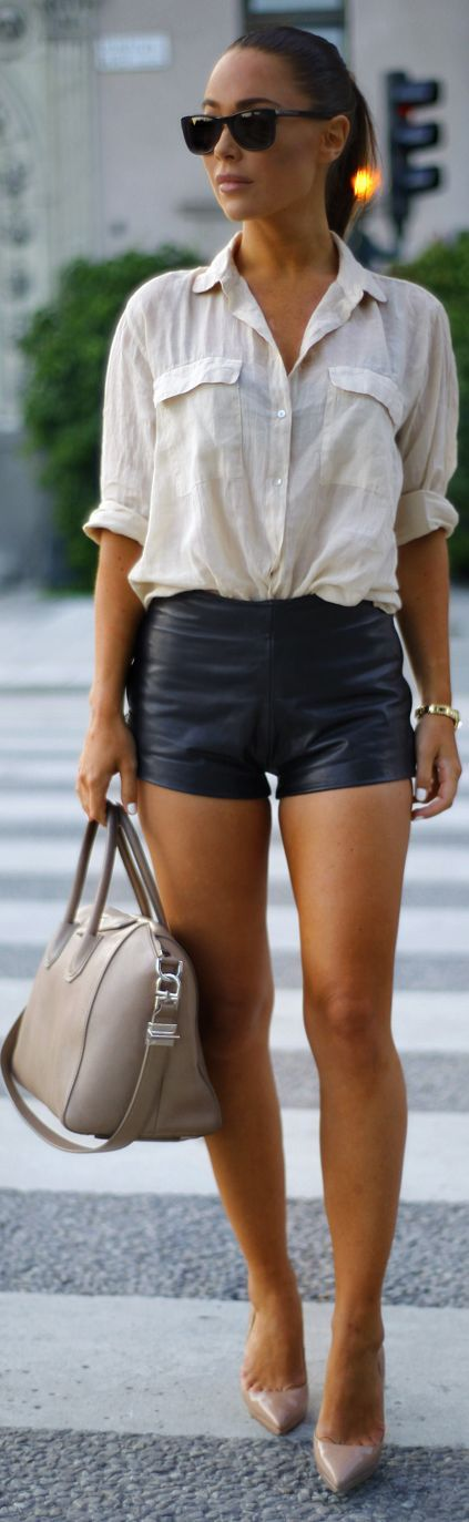 COOL STYLE. ONE OF MY FAV GO TO LOOKS. Zara Beige Linen Loose Button Down with leather shorts. CASUAL GLAM