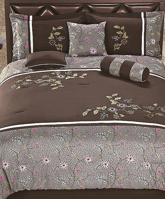 Brown & Gray Luxury Comforter Set | Daily deals for moms, babies and kids