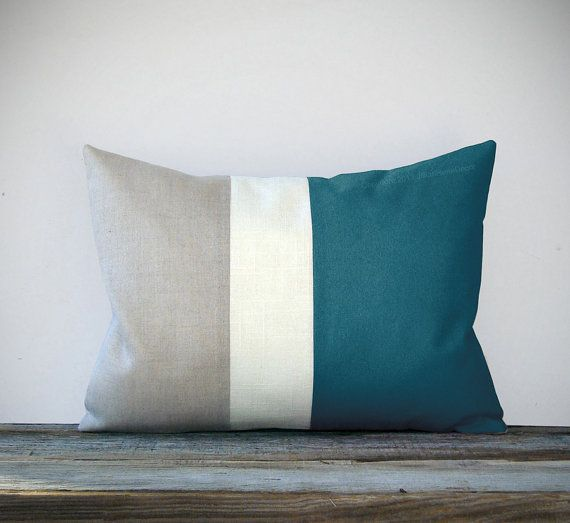 Teal Color Block Decorative Pillow with Cream by JillianReneDecor, $45.00