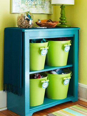 old cupboard painted, add a few colorful buckets for a fun toy storage solution (plus, free printable labels!) I would do these in shades of pink for a little girl's room!