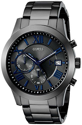 GUESS Men's U0668G2 Grey Stainless Steel Chronograph Watch   Round watch with mixed-texture dial featuring blue markers, date window at three o'clock, and two chronograph subdials 44.5 mm stainless steel case with mineral dial window Quartz movement with analog display Stainless steel link bracelet with deployant clasp. Water resistant to 50 m (165 ft)..