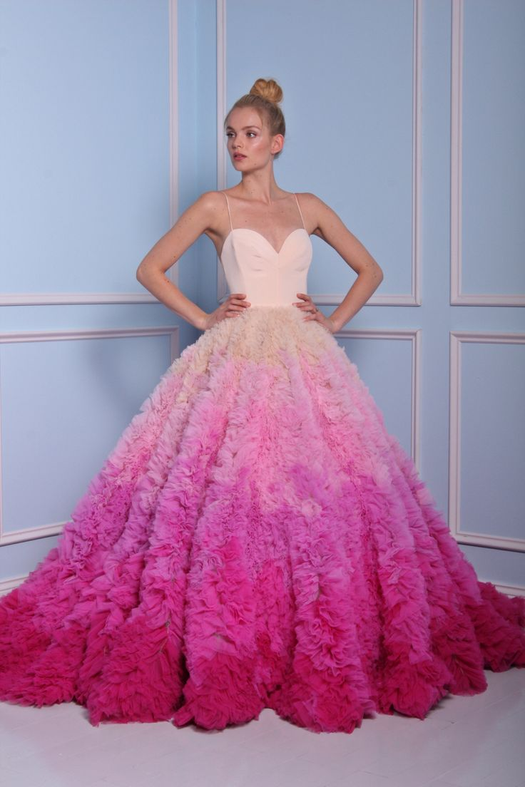 Fancy Bridal fashion for Key trends from Bridal Fashion Week Pastels Pink ombre ball gown by Christian Siriano for Kleinfeld