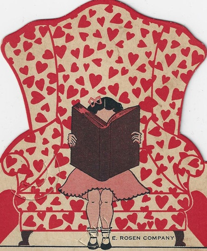 """1930's Valentine - E. Rosen Company Lollipop Card. The bottom of the card read: """"Please put up your book Just for a minute, Then hold out your hand and I'll put this pop in it."""""""