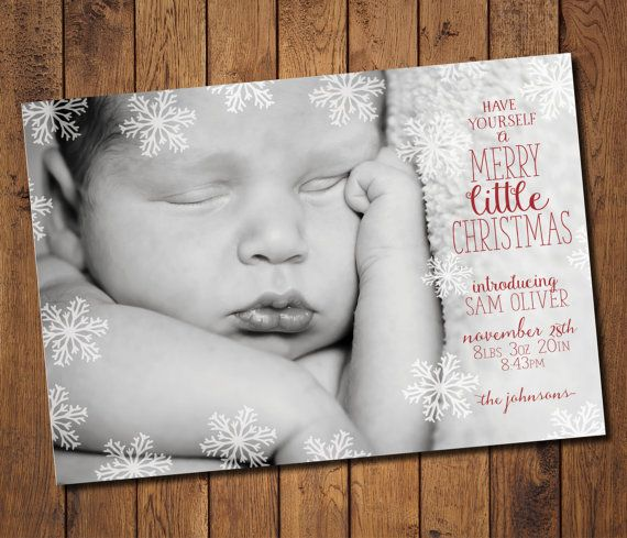 Merry little Christmas -Christmas Birth Announcement Custom by SimplyExtravagantInv