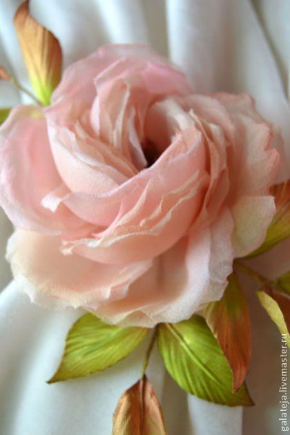 Цветы из шелка.Брошь Роза Милан - кремовый,розовый,роза,роза из шелка