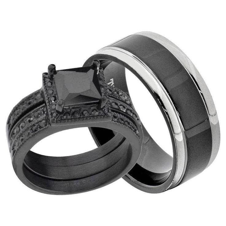 Ensemble de bagues pour elle et lui - Stainless steel et rhodium noir