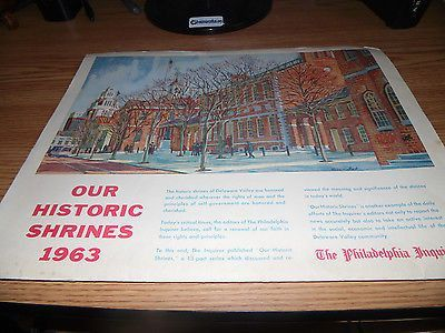 VINTAGE NEWSPAPER THE PHILADELPHIA INQUIRER OUR HISTORIC SHRINES 1963