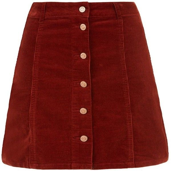 Rust Corduroy Button Front A-Line Skirt (400 ZAR) ❤ liked on Polyvore