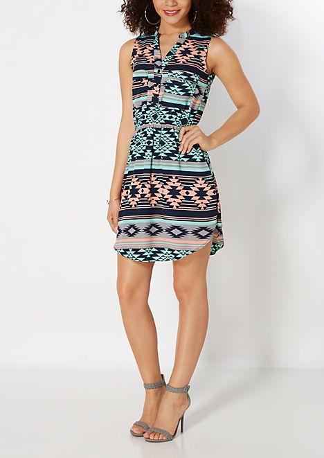 Aztec Chiffon Shirt Dress | rue21