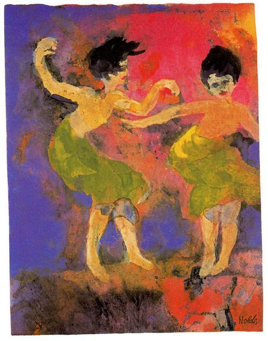 Dancing women (with green skirts) | Emil Nolde