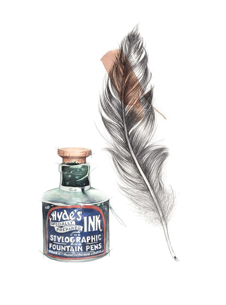 """""""Blekkhus"""" (Vintage ink jar)  Copyright: Emmeselle.no  Illustration by Mona Stenseth Larsen"""