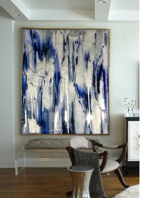 Sold-Acrylic Abstract Art, Abstract Painting, Resin Painting, Blue Painting, Silver Painting, Ikat Painting, Silver Painting Resin 40×30