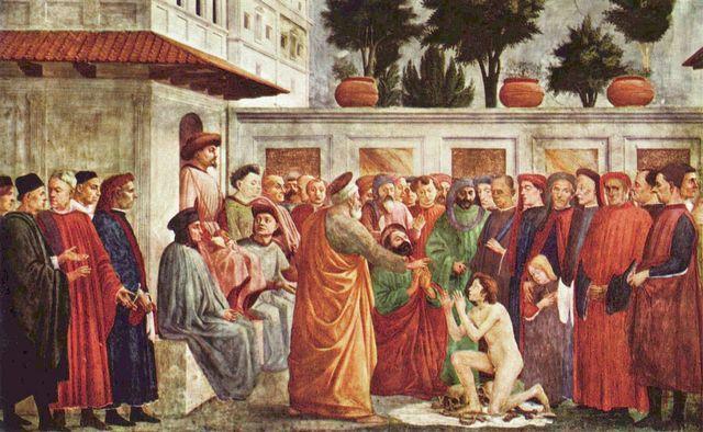 Masaccio: Freskenzyklus der Brancacci-Kapelle in Santa Maria del Carmine in Florenz, Szenen aus dem Leben Petri, Szene: Erweckung des Sohnes des Theophilus, Fürst von Antiochien und Petrus in Kathedra